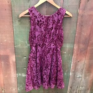 Free People purple shimmer flocked velvet dress